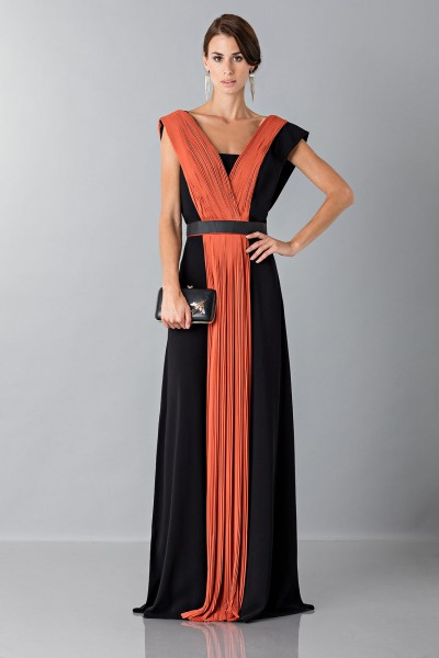 Long dress with central silk insert