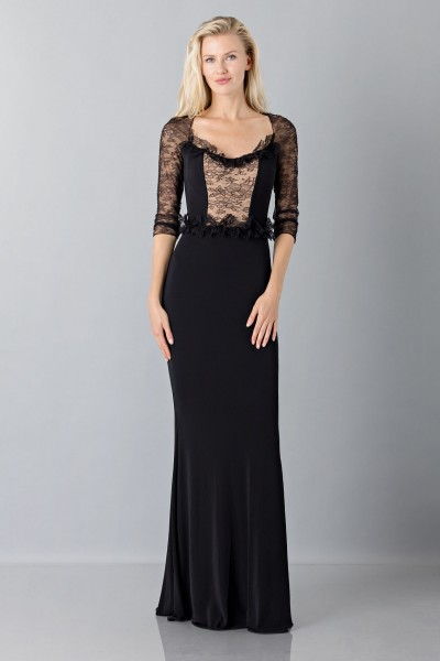 Black mermaid dress with lace sleeves