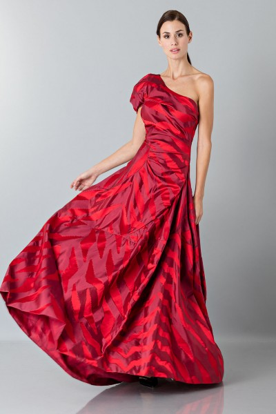 One-shoulder red dress with puff sleeve