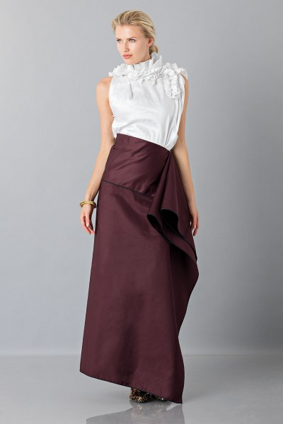 Bordeaux skirt with anterior drapery