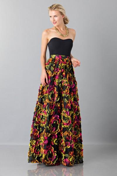Skirt with floral appliquè