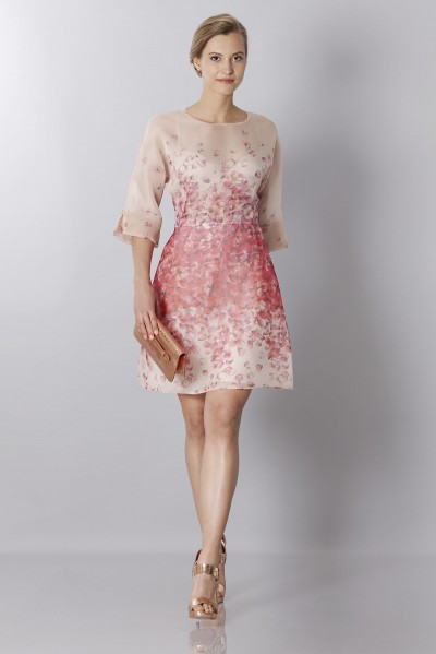 Silk organza dress with floral printing