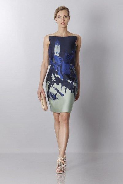Asymmetrical bustier with floreal printing