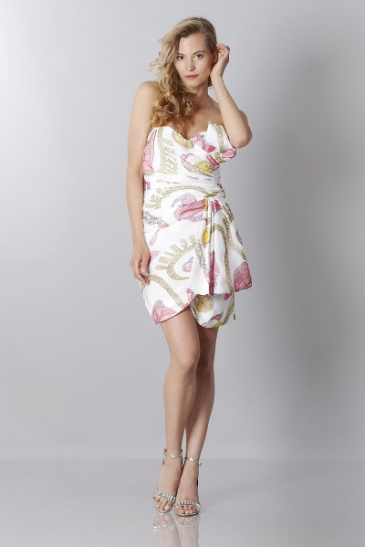 Silk printed bustier dress