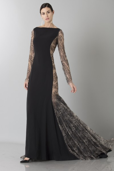 Long dress with side transparencies