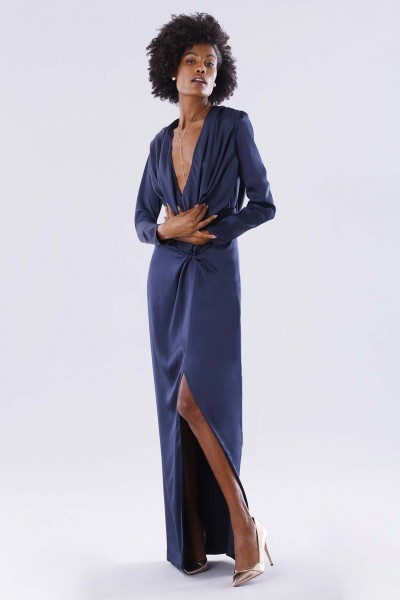 Blue dress with deep neckline
