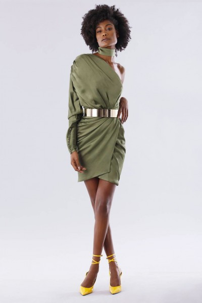 One-shoulder short olive dress