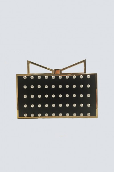 Black clutch with pearls