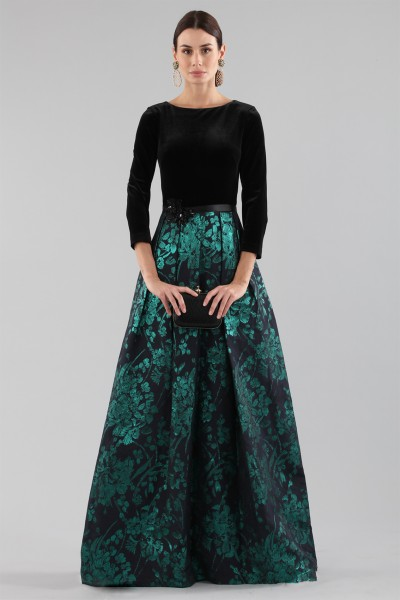 Dress with long sleeves and brocaded skirt