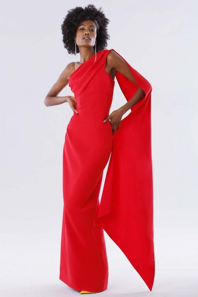 One-shoulder red dress with drapery