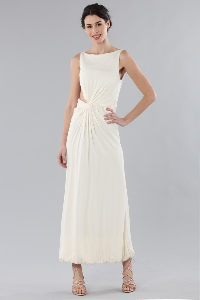 Long draped silk dress