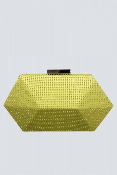 Geometric lemon clutch with rhinestones