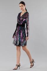 Drexcode - Wrap dress con paillettes mullticolori - Drexcode - Vendita - 2