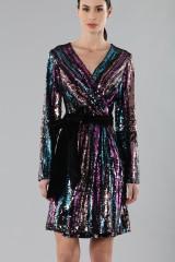 Drexcode - Wrap dress con paillettes mullticolori - Drexcode - Vendita - 6