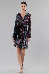 Drexcode - Wrap dress con paillettes mullticolori - Drexcode - Vendita - 1