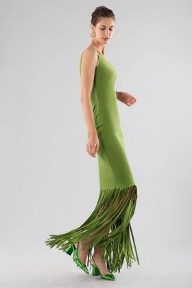 Abito verde monospalla con frange - Chiara Boni - Vendita Drexcode - 1