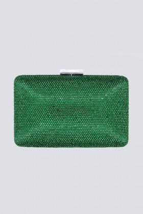 Clutch piatta verde con strass - Anna Cecere - Vendita Drexcode - 1