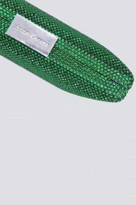 Clutch piatta verde con strass - Anna Cecere - Vendita Drexcode - 2
