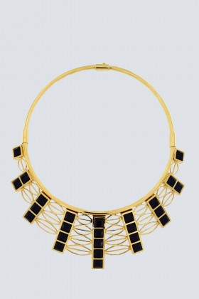 Collana in oro giallo e cristalli Swarovski neri - Natama - Vendita Drexcode - 1