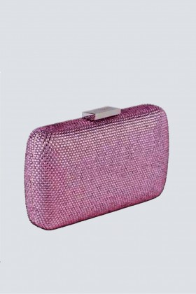 Clutch piatta rosa con strass - Anna Cecere - Vendita Drexcode - 1