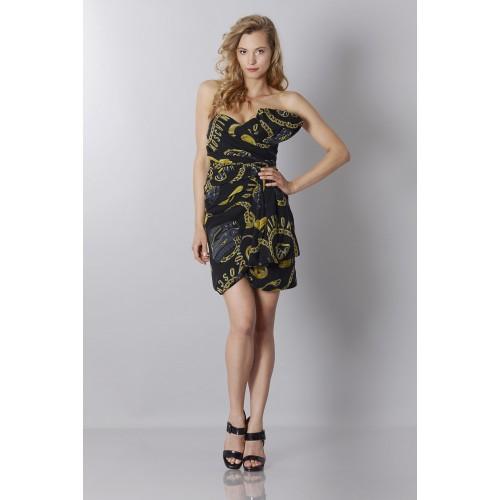 Vendita Abbigliamento Usato FIrmato - Abito bustier nero in seta con stampa - Moschino - Drexcode -3