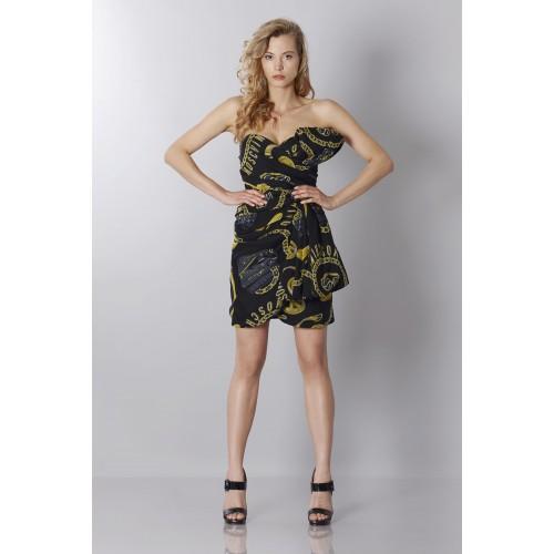Vendita Abbigliamento Usato FIrmato - Abito bustier nero in seta con stampa - Moschino - Drexcode -2